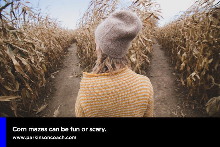 Corn mazes can be fun or scary.